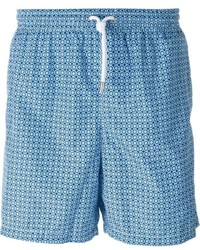 Shorts de baño con estampado geométrico celestes de Kiton