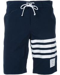 Shorts de baño de rayas horizontales azul marino de Thom Browne