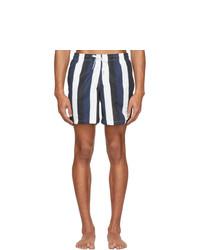 Shorts de baño de rayas verticales en azul marino y blanco
