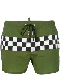 Shorts de baño de tartán verde oliva de DSQUARED2