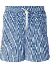 Shorts de baño estampados azules de Kiton