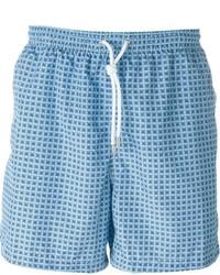 Shorts de baño estampados celestes de Kiton