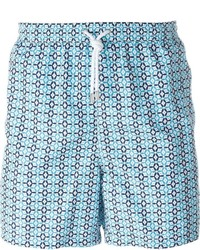 Shorts de baño estampados en turquesa de Kiton