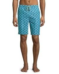Shorts de baño estampados en verde azulado