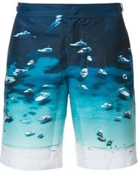 Shorts de baño estampados en verde azulado de Orlebar Brown