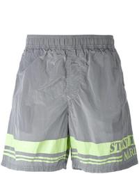 Shorts de baño estampados grises de Stone Island