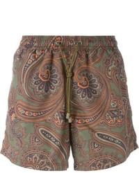 Shorts de baño estampados marrónes de Etro