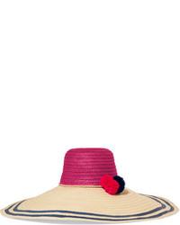 Sombrero de paja de rayas horizontales marrón claro
