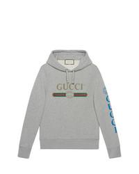 Sudadera con capucha bordada gris de Gucci