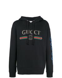Sudadera con capucha bordada negra de Gucci