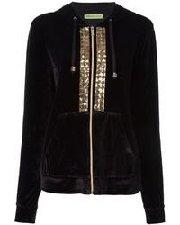 Sudadera con capucha bordada negra de Versace