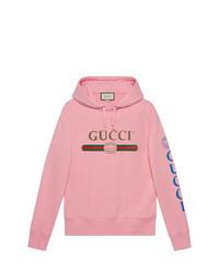 Sudadera con capucha bordada rosada de Gucci