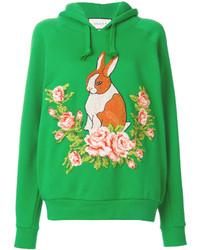 Sudadera con capucha con print de flores verde de Gucci