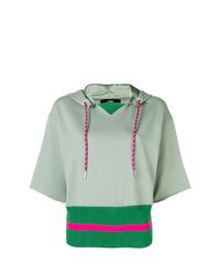 Sudadera con capucha de manga corta en verde menta de Diesel