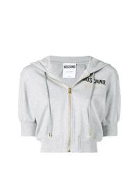 Sudadera con capucha de manga corta estampada gris de Moschino