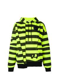 Sudadera con capucha de rayas horizontales en amarillo verdoso de McQ Alexander McQueen