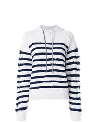 Sudadera con capucha de rayas horizontales en blanco y azul marino de Barrie