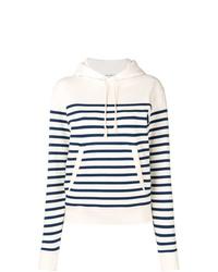 Sudadera con capucha de rayas horizontales en blanco y azul marino de Saint Laurent