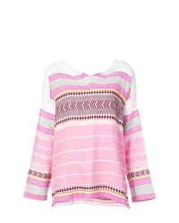 Sudadera con capucha de rayas horizontales rosada de Lemlem