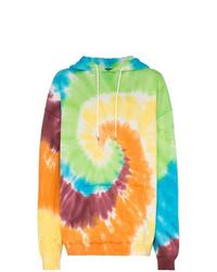 Sudadera con capucha efecto teñido anudado en multicolor de R13