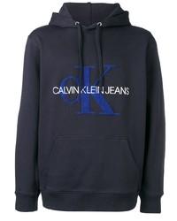 Sudadera con capucha estampada azul marino de Calvin Klein Jeans