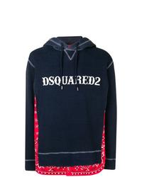 Sudadera con capucha estampada azul marino de DSQUARED2