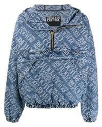 Sudadera con capucha estampada azul de VERSACE JEANS COUTURE