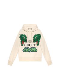 Sudadera con capucha estampada en beige de Gucci