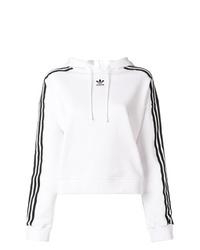 Sudadera con capucha estampada en blanco y negro de adidas