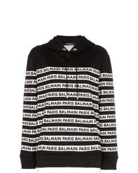 Sudadera con capucha estampada en negro y blanco de Balmain