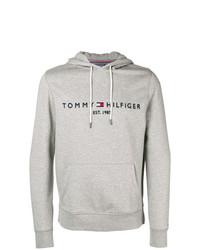 Sudadera con capucha estampada gris de Tommy Hilfiger