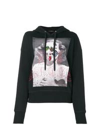 Sudadera con capucha estampada negra de Alexander McQueen