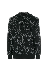 Sudadera con capucha estampada negra de Neil Barrett