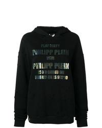 Sudadera con capucha estampada negra de Philipp Plein