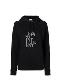 Sudadera con capucha estampada negra de Saint Laurent