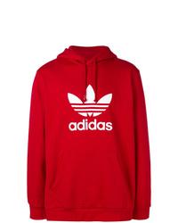 Sudadera con capucha estampada roja de adidas