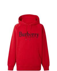 Sudadera con capucha estampada roja de Burberry