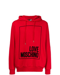 Sudadera con capucha estampada roja de Love Moschino
