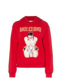 Sudadera con capucha estampada roja de Moschino