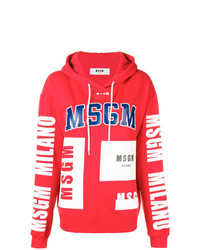Sudadera con capucha estampada roja de MSGM