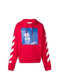 Sudadera con capucha estampada roja de Off-White