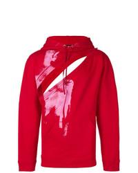 Sudadera con capucha estampada roja de Raf Simons