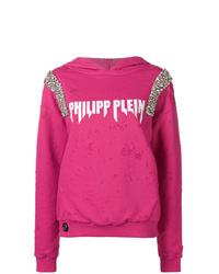 Sudadera con capucha estampada rosa de Philipp Plein