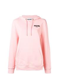 Sudadera con capucha estampada rosada de Moschino