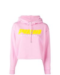 Sudadera con capucha estampada rosada de Puma