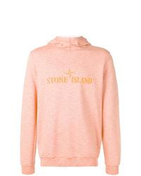 Sudadera con capucha estampada rosada de Stone Island