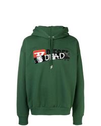 Sudadera con capucha estampada verde oscuro de Diesel