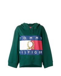 Sudadera con capucha estampada verde oscuro de Hilfiger Collection
