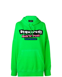 Sudadera con capucha estampada verde de Dsquared2