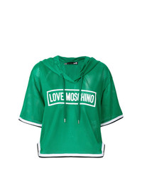 Sudadera con capucha estampada verde de Love Moschino